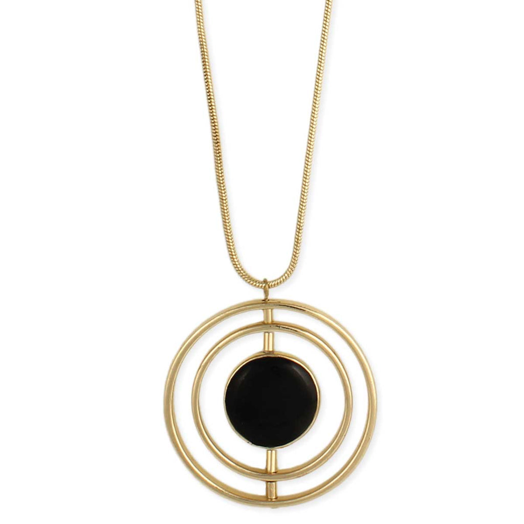 Bullseye Gold & Black Circle Necklace