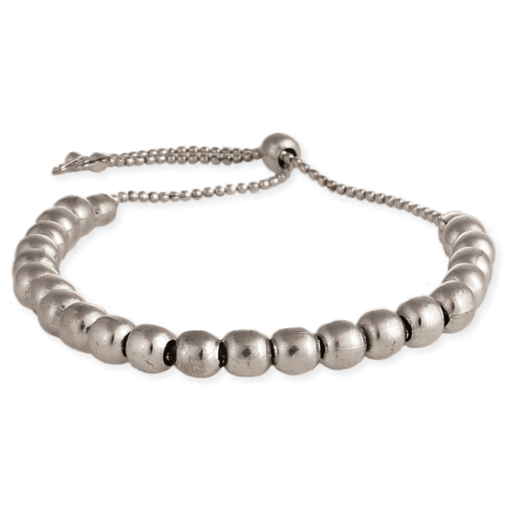Living in Luxury Silver Bead Pull Bracelet