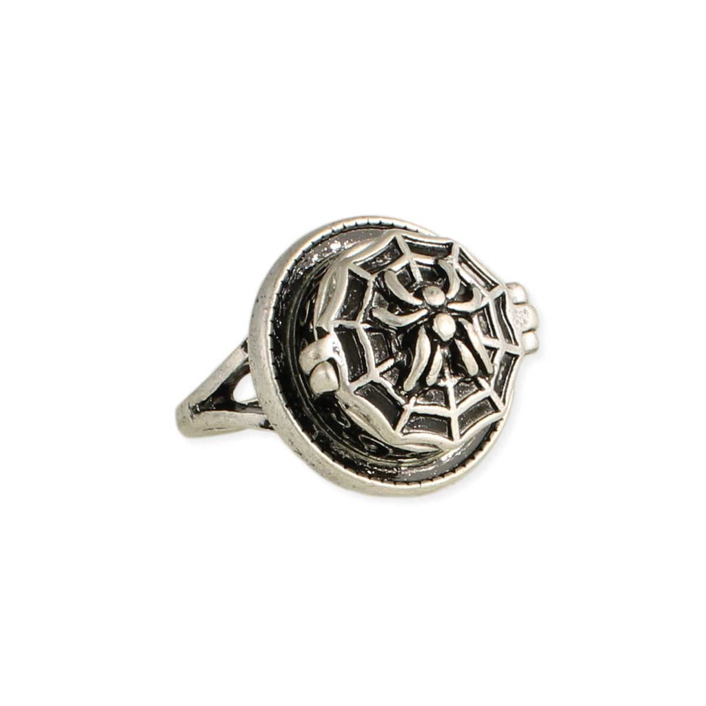 Black Widow Silver Spider Poison Ring
