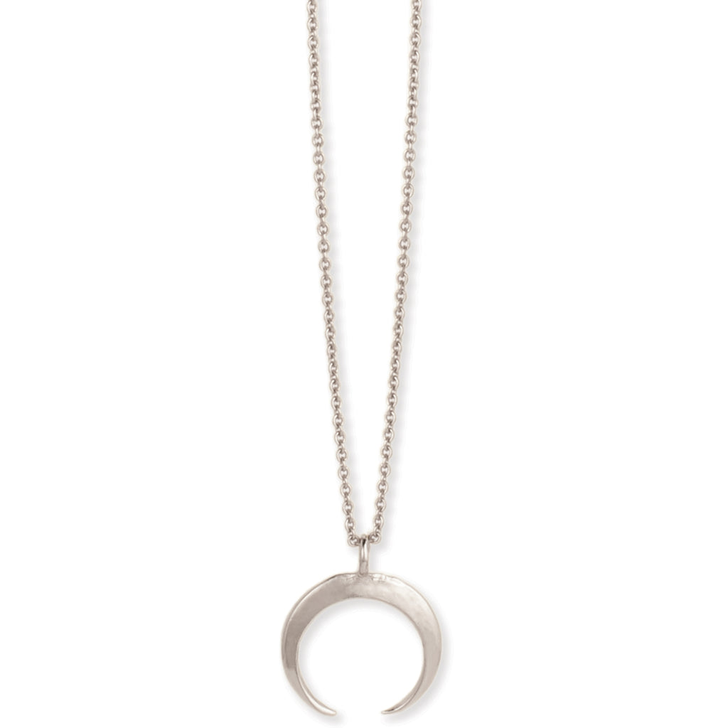 Simple Double Horn Silver Necklace