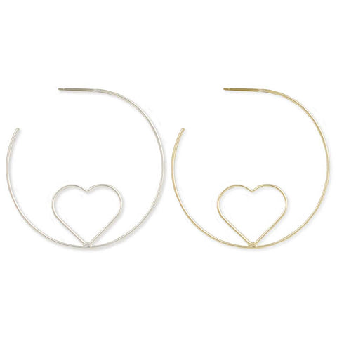 Heart Outline Hoop Earring