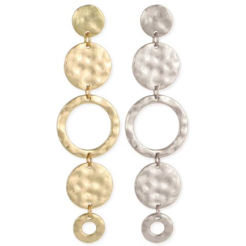 Hammered Circles Linear Post Earrings