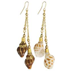 Beach Treasures Gold & Shell Earring
