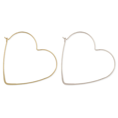 Matte Metal Heart Hoop Earring