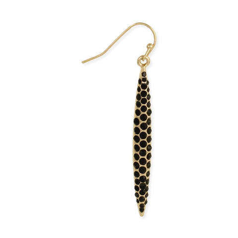 Gold & Black Crystal Dagger Earring