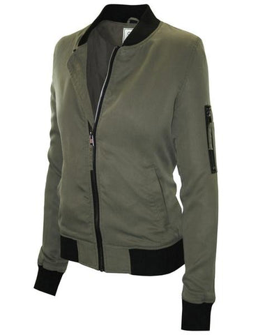 Cielo Bomber Jacket in Olive with Black Collar