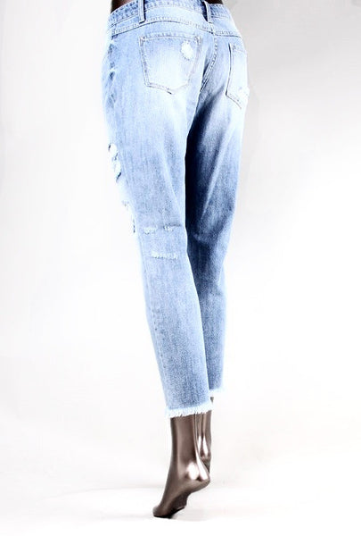 KLIQUE. B. BRAND FRAY HEM DISTRESS BOYFRIEND JEANS (BLUE BOTTLE)