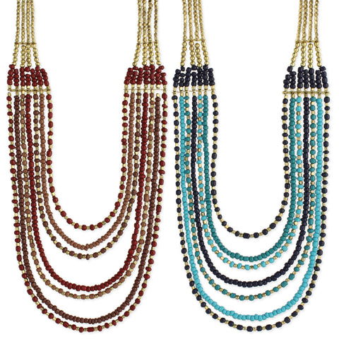 Gold & Bead 7 Line Necklace - Anonymous L.A.