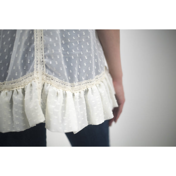 Lace Blouse With White Studded Back - Anonymous L.A. - 7