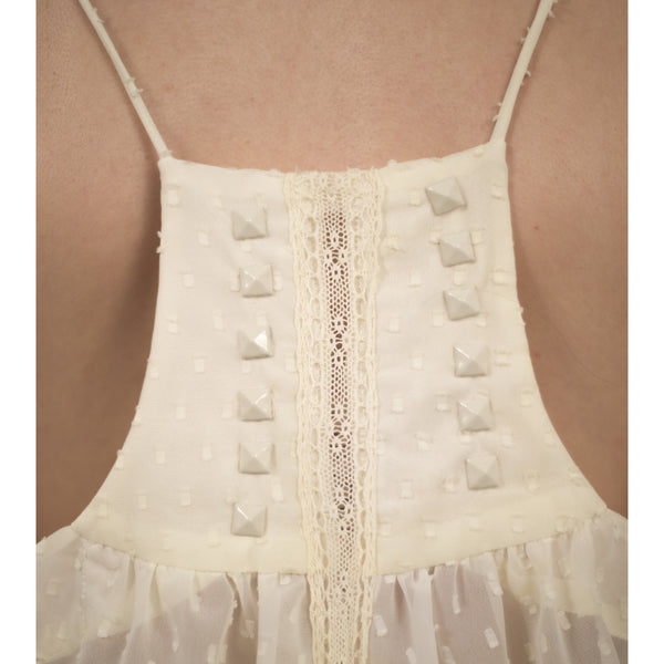 Lace Blouse With White Studded Back - Anonymous L.A. - 8