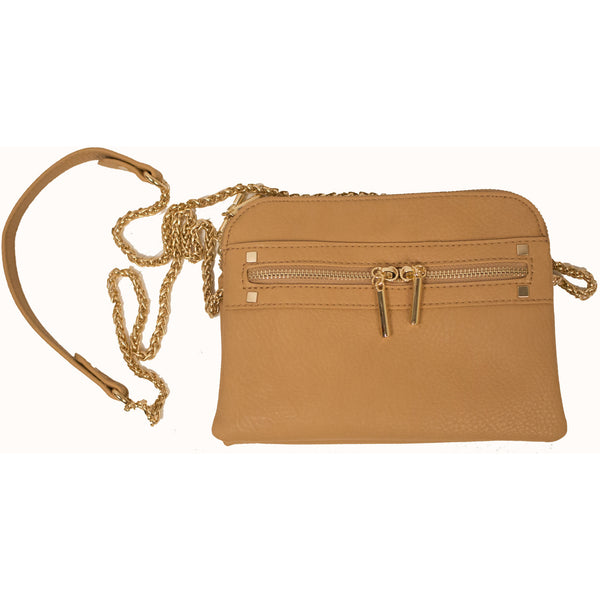 Vegan Textured Leather Cross Body Bag in Beige - Anonymous L.A. - 2