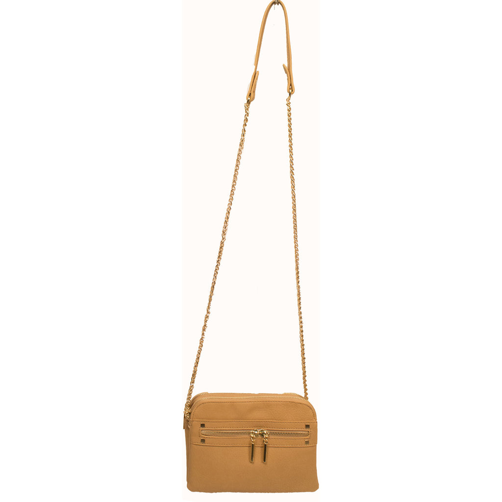 Vegan Textured Leather Cross Body Bag in Beige - Anonymous L.A. - 1