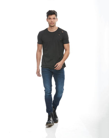 Men's Garment Dyed T-Shirt W/Holes