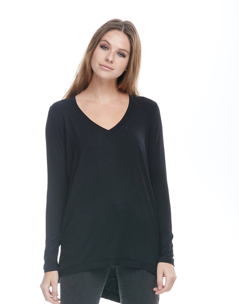 Woman's V-Neck Slit Top