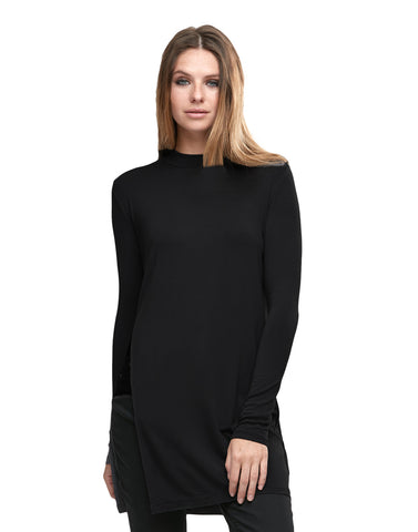 Long Sleeve Side Slit Mock Neck Top