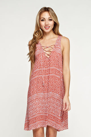 All over Printed Sleeveless Dress