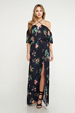 Halter Tie Neck Off Shoulder Dress