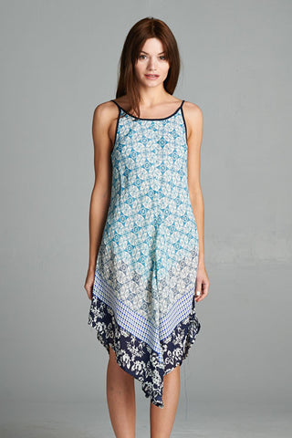 Printed Chevron Hem Midi Dress