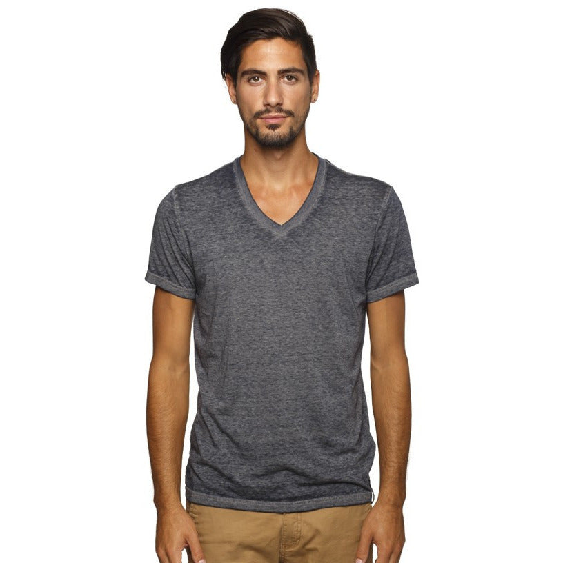 Lucky 7 Grey Burn-Out V-neck T-shirt - Anonymous L.A.