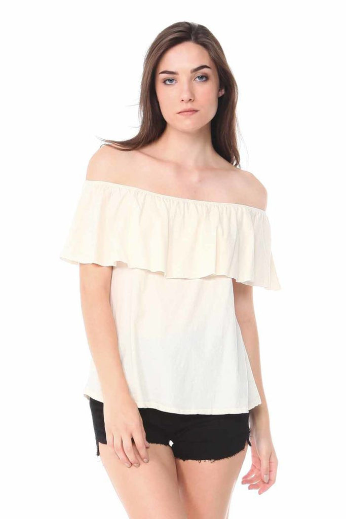 -Pre-washed jersey off shoulder flounce crop top