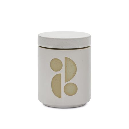 FORM 12 OZ WHITE GLAZED CERAMIC WITH LID - TOBACCO FLOWER