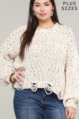 Confetti Sweater - White - Distressed