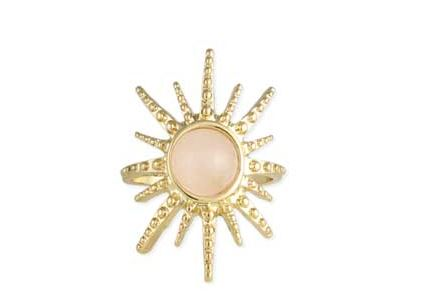 Rising Sun Gold Starburst Rose Quartz Ring