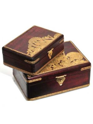 Wood Boxes with Metal Work Set/2