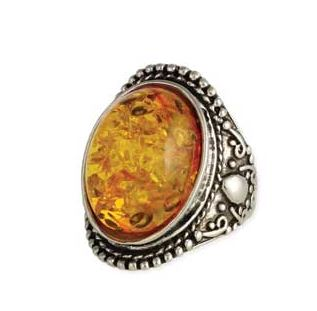 Rare Finds Amber & Silver Ring