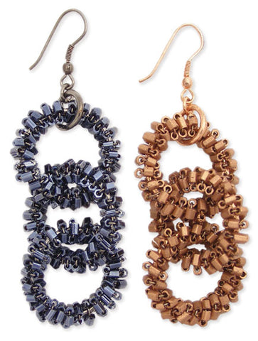 Bugle Beaded Link Dangle Earring