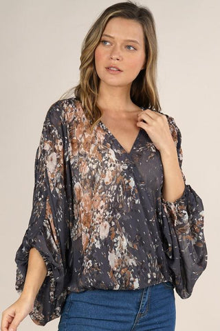 Floral Print Surplice Top