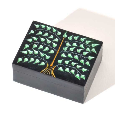 "Carved Soapstone Tree of Life Box 3""x4"""