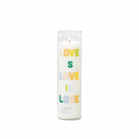 "SPARK 10.6 OZ RAINBOW ""LOVE IS LOVE IS LOVE"" PRAYER CANDLE / LOVE - EUCALYPTUS SANTAL"
