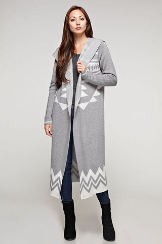 Angora Blend, Long Sleeve Hooded Duster