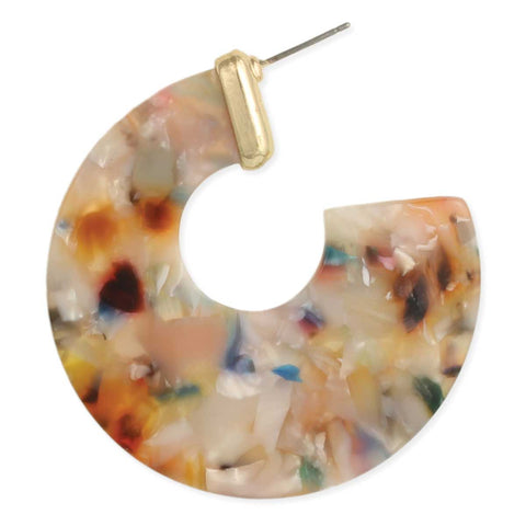 Kaleidoscopic Fashion Resin Hoop Earrings