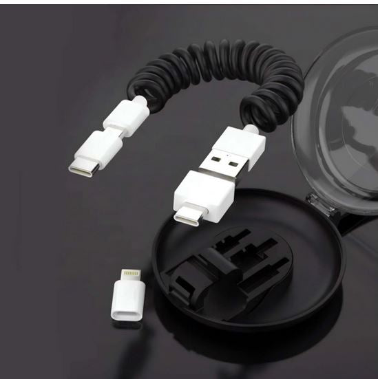 Men's 3 Plug Portable Spring Charging Cord