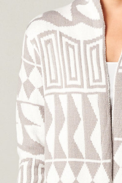 Aztec Knit Long Cardigan