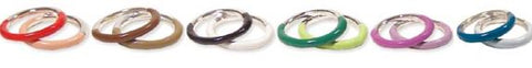 2 Tone Set of 2 Enamel/Silver Metal Rings