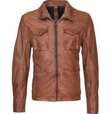Men Short Leather Jacket - Dark Cognac