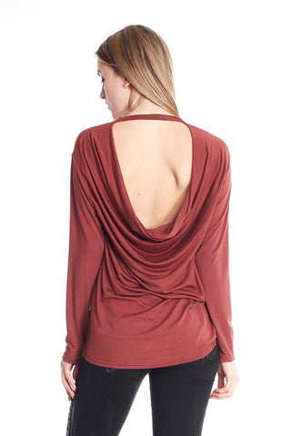 Long Sleeve Modal Drape Back Shirt