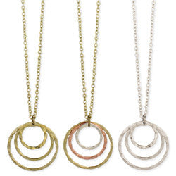 Open Hammered Circles Long Necklace