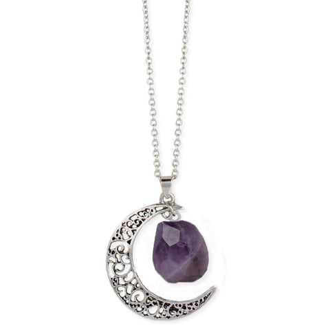 Antiqued Silver Moon Raw Amethyst Long Necklace