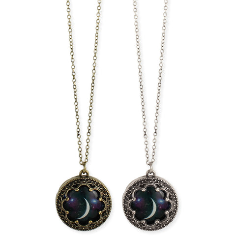 Antiqued Metal Moon Print Necklace - Anonymous L.A.