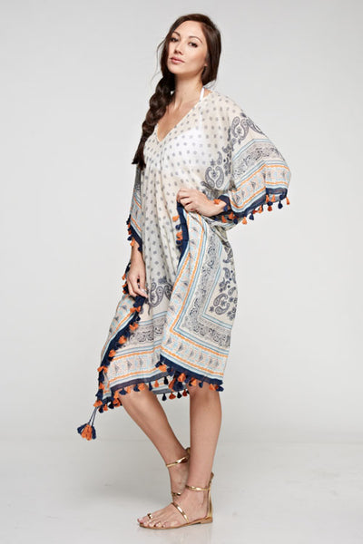 Scarf Printed Caftan Multi Color