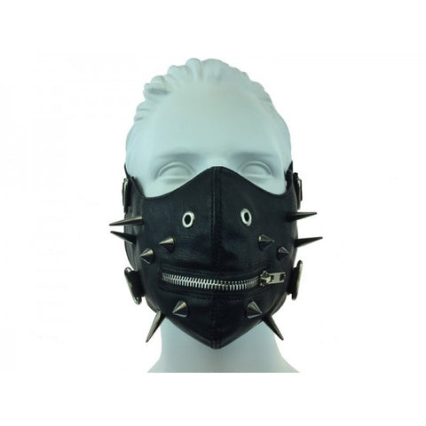 Leather Mouth Mask With Spikes And Zipper