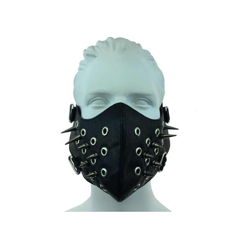 Leather Mouth Mask With Spikes And Holes
