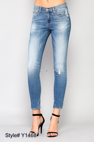 Flying Monkey Mid Rise Skinny With Distressing