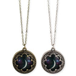 Antiqued Metal Moon Print Necklace