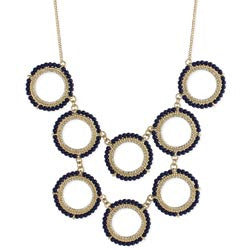 Blue Bead Circle Bib Gold Necklace