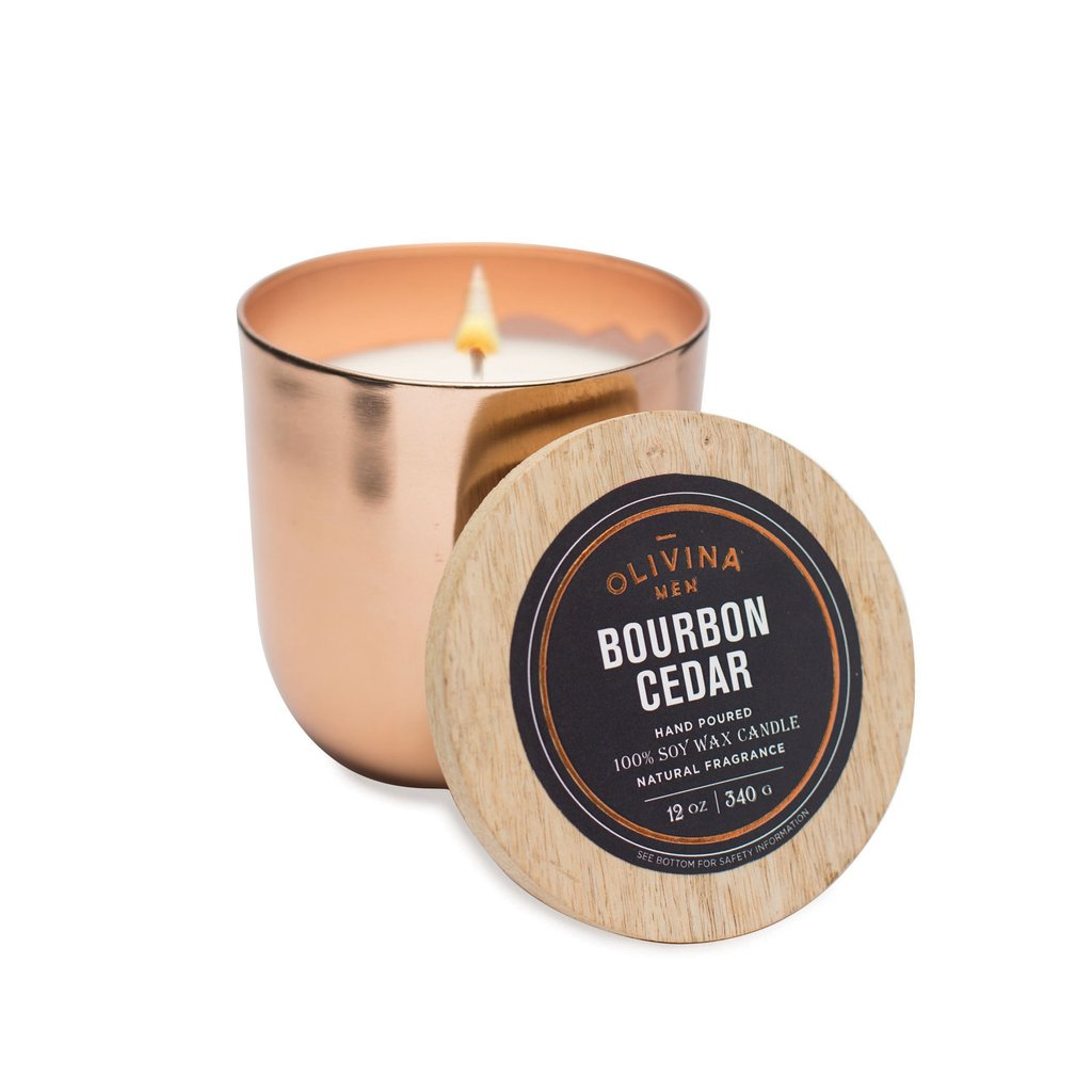 Bourbon Cedar Soy Wax Candle 12 oz.